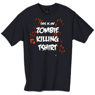 This is my Zombie killing t-shirt, this funny tshirt does look quite gross as it has blood stained hand prints all over it, but does look pretty cool.