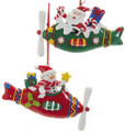 Snowman and Santa Christmas Ornament. (Red)