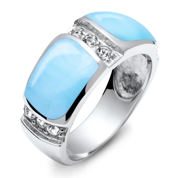 Marahlago Marina Collection Larimar Band Ring With White