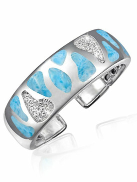 MarahLago Surf Collection Larimar Bangle Cuff Bracelet with White Topaz