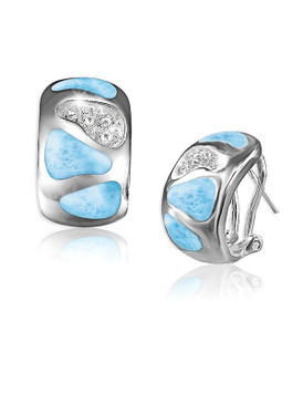 MarahLago Surf Collection Larimar Earrings with White Topaz