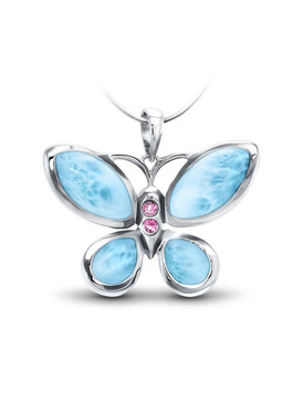 MarahLago Wildlife Collection Larimar Butterfly Necklace