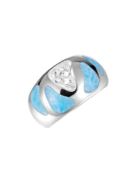 MarahLago Surf Larimar Ring with White Topaz