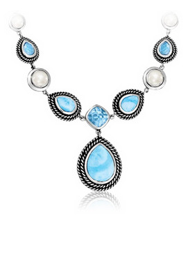 MarahLago Reina Collection Larimar Necklace with Blue Topaz & Pearls