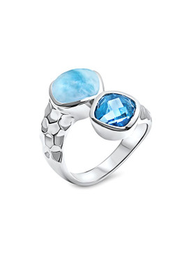 MarahLago Faceta Collection Larimar Ring with Blue Topaz
