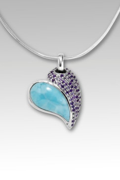 MarahLago Chloe Pink Heart Necklace with Larimar and Amethyst