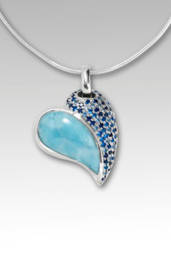 MarahLago Chloe Blue Heart Necklace with Larimar and Blue Spinel