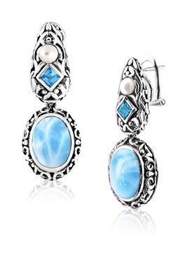 MarahLago Messina Collection Larimar Earrings with Blue Topaz & Pearl