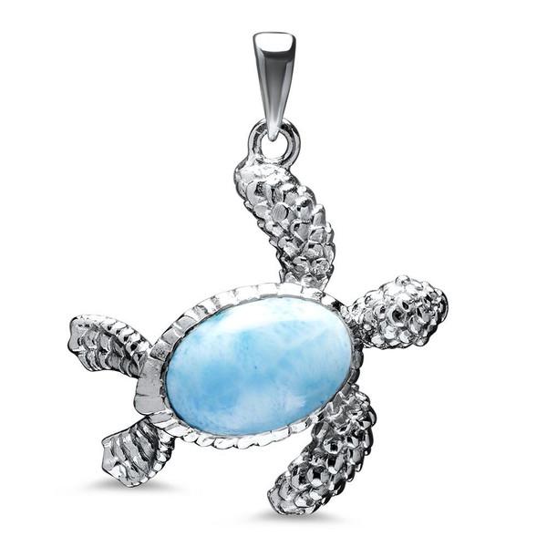 MarahLago Marine Life Collection Larimar Turtle Necklace