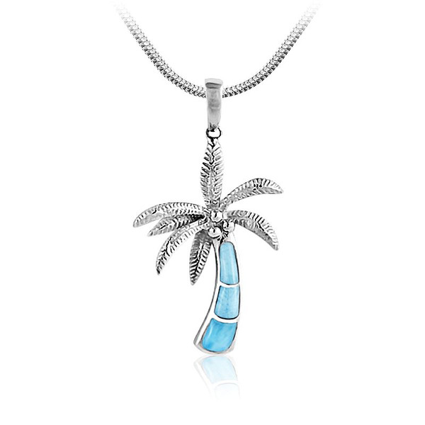 Marahlago sealife collection larimar inlay palm tree pendant marahlago marine life collection larimar lnlay palm necklace mozeypictures Gallery