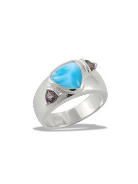 MarahLago Spectral Collection Larimar Ring with Mystic Topaz