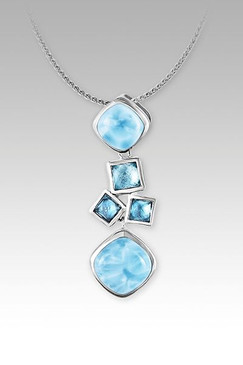 MarahLago Apia Larimar Pendant/Necklace with Blue Topaz