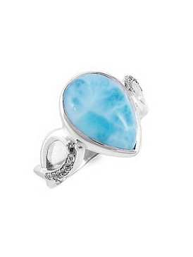 MarahLago Cara Collection Larimar Ring with White Sapphires  - Further Reduction!