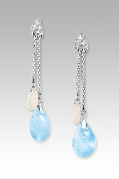 MarahLago Enigma Collection Larimar Earrings with Mother of Pearl and Sapphire