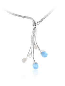 Marahlago Enigma Larimar Lariat Necklace with White Sapphire & Mother of Pearl