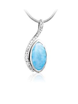 MarahLago Epiphany Collection Larimar Pendant with White Sapphire