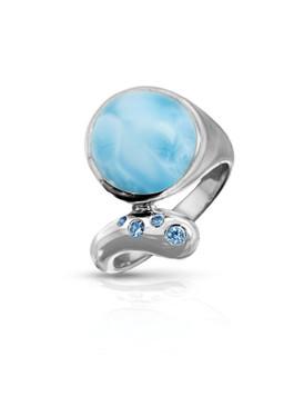 MarahLago Lumen Larimar Ring with Blue Spinel