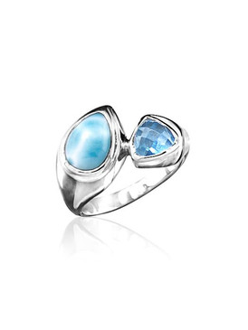 MarahLago Ilona Collection Larimar Ring with Blue Topaz