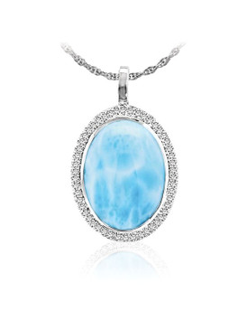 MarahLago Clarity Oval Larimar Pendant/Necklace with White Sapphire