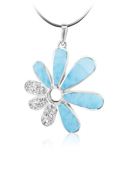 MarahLago Mayflower Collection Larimar Pendant/Necklace with White Sapphire