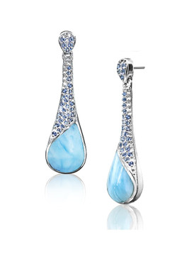 MarahLago Rain Collection Larimar Earrings with Blue Spinel - Retired