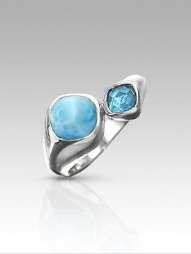 MarahLago Apia Collection Larimar Ring with Blue Topaz