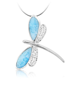 MarahLago Wildlife Collection Larimar Dragonfly Necklace