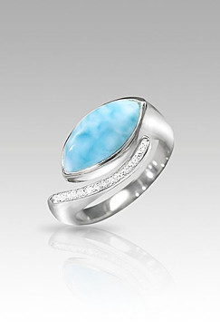 MarahLago Epiphany Collection Larimar Ring with White Sapphire - Retired - Size 8 Only