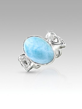 MarahLago Eclipse Collection Larimar Ring with White Sapphires