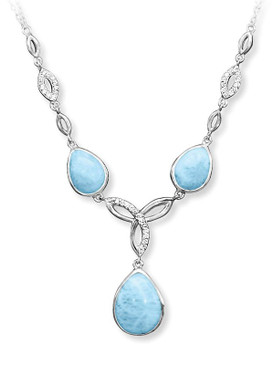 MarahLago Unity Collection Larimar Necklace with White Sapphire