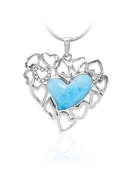 MarahLago Lyla Larimar Heart Necklace