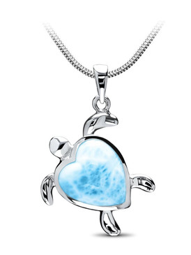 MarahLago Marine Life Collection Larimar Turtle Heart Pendant/Necklace