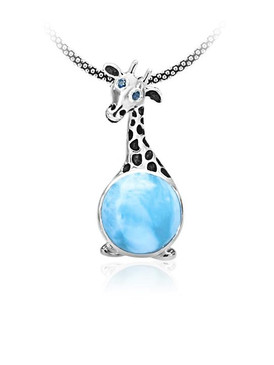 MarahLago Wildlife Larimar Giraffe Necklace with Blue Spinel