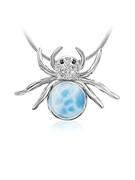 MarahLago Wildlife Collection Larimar Spider Pendant/Necklace with White Sapphire & Black Spinel