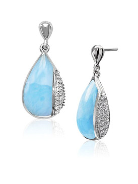 MarahLago Divine Collection Larimar Earrings with White Sapphire
