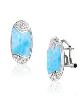 MarahLago Cascadia Collection Larimar Earrings with White Sapphire
