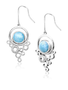 MarahLago Paradise Collection Larimar Earrings with White Sapphire