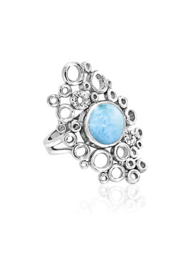 MarahLago Paradise Collection Larimar Ring with White Sapphire