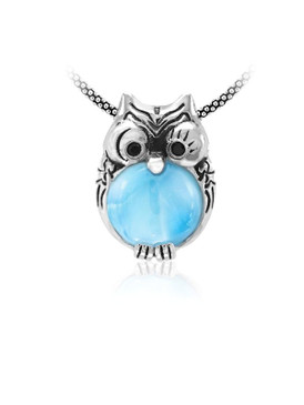 MarahLago Wildlife Collection Larimar Owl Necklace with Black Spinel