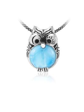 MarahLago Wildlife Collection Larimar Owl Necklace