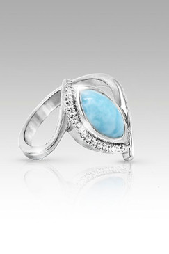 MarahLago Vista Collection Larimar Ring with White Sapphire - Newly Retired & Now on Sale - Size 8 Only