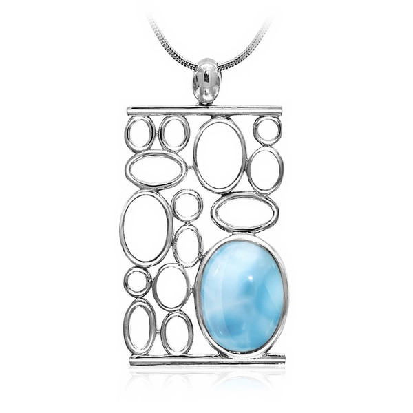 MarahLago Tranquility Larimar Pendant/Necklace with White Sapphire