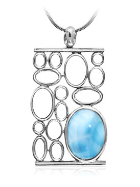 MarahLago Tranquility Collection Larimar Pendant/Necklace with White Sapphire - Retired