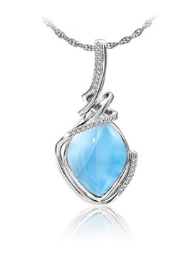 MarahLago Calypso Collection Larimar Pendant/Necklace with White Sapphire