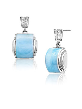 MarahLago Osiris Collection Larimar Earrings with White Sapphire