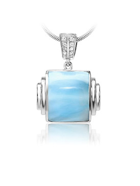 MarahLago Osiris Collection Larimar Pendant/Necklace with White Sapphire