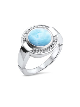 MarahLago Verity Collection Larimar Ring with White Sapphire