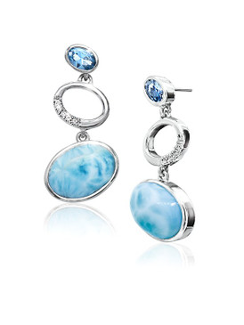 MarahLago Poetry Collection Larimar Earrings with Blue Spinel & White Sapphire