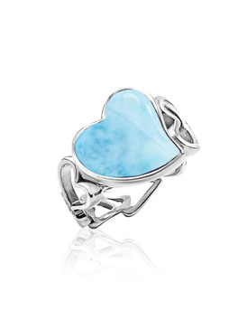 MarahLago Floating Heart Collection Larimar Ring