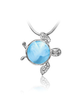 MarahLago Marine Life Collection Larimar Sea Turtle Pendant/Necklace with White Sapphire